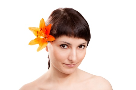 Beautiful Woman With Orchid Lily Flowers  Beauty Model Women Face  photo