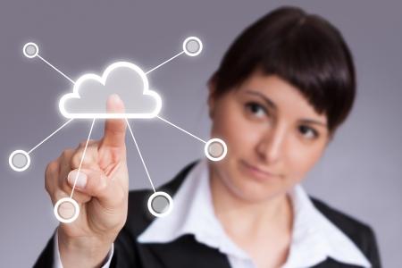 futuristic display  Cloud computing touchscreen interface
