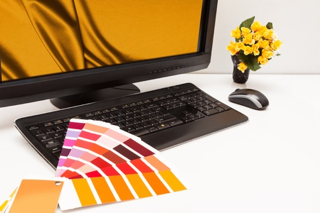 Graphic designer at work  Color samples  Brown, yellow images Stock Photo - 19340027