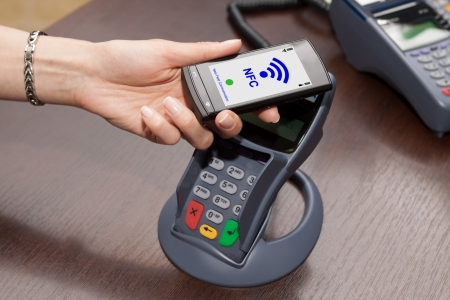 nfc: NFC - Near field communication   mobile payment Stock Photo
