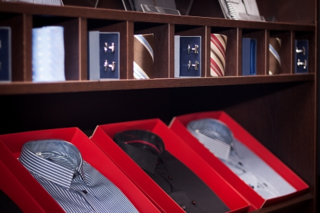 neck tie: Male neck ties in a modern fashion store