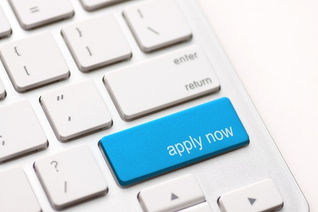 Apply Now Computer Key In blue For Work Application photo