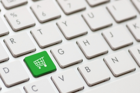 shopping enter button key on white keyboard photo