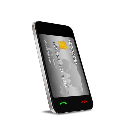 rfid: A smartphone with Near Field Communication  NFC  showing a plastic credit card going into the fron of the screen