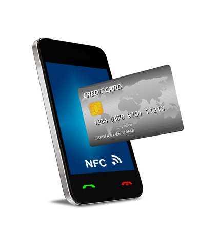 A smartphone with Near Field Communication  NFC  showing a plastic credit card going into the fron of the screen photo