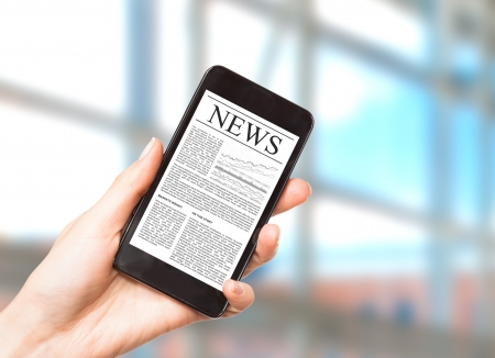News on mobile phone, smart phone  Isolated on white Stock Photo - 20020501