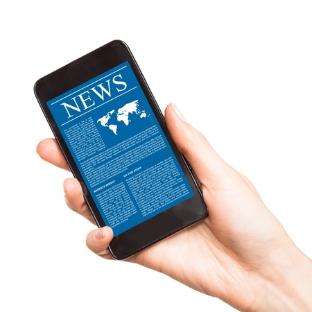 latest: News on mobile phone, smart phone  Isolated on white  Stock Photo