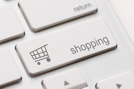 shopping enter button key on white keyboard Stock Photo - 20401027