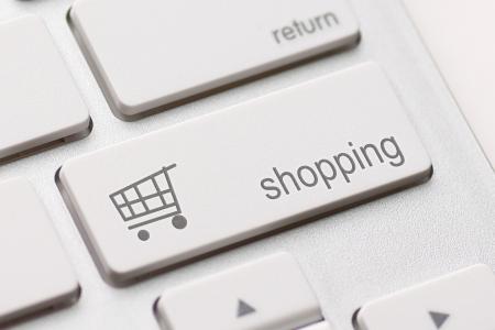 e data: shopping enter button key on white keyboard