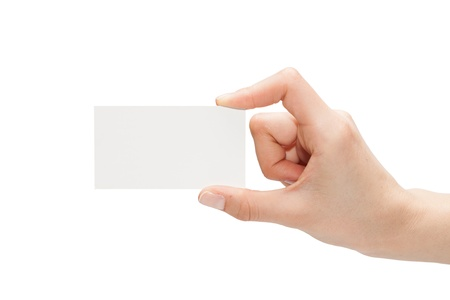Female hand with a blank card isolated on white Reklamní fotografie
