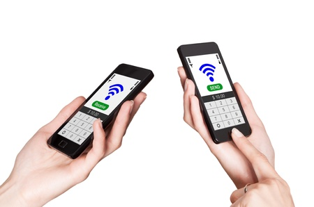 Two mobile phones with NFC payment technology. Near field communication Stock Photo - 20416957