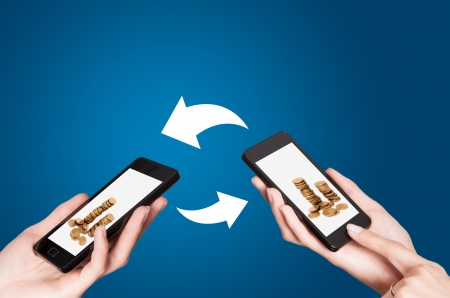 Two mobile phones with NFC payment technology. Near field communication Stock Photo - 20401105