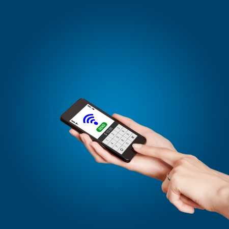 Mobile phones with NFC payment technology. Near field communication Stock Photo - 20401484