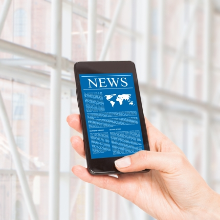 News on mobile phone, smart phone. Isolated on white. Stock Photo - 20401082