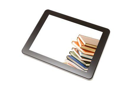 Book and teblet computer isolated on white. Stock Photo - 20416965
