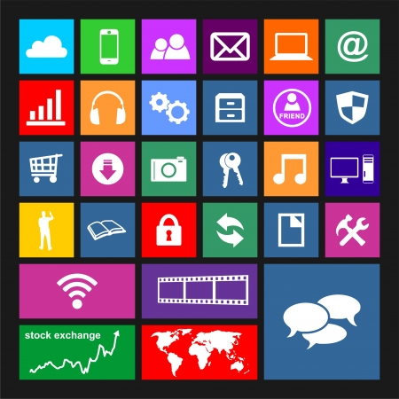 business software: Metro Icon Set Illustration