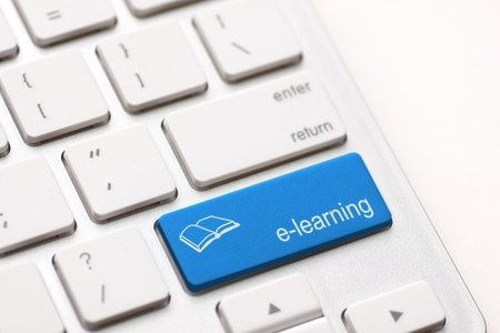 leading education: Computer Keyboard e-Learning Concept.