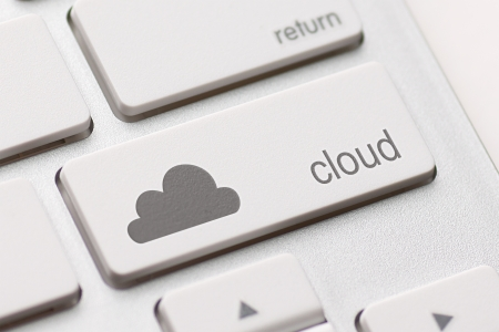 Cloud computing button key on white keyboard photo