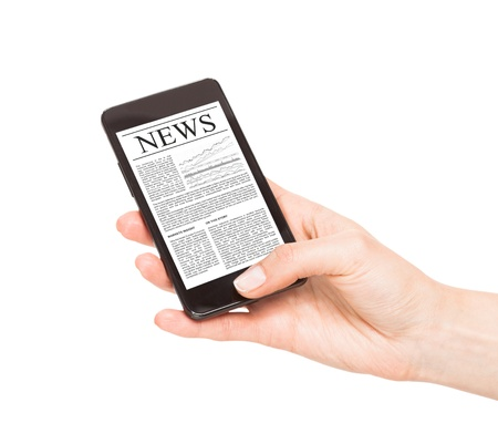 News on mobile phone, smart phone. Isolated on white. photo