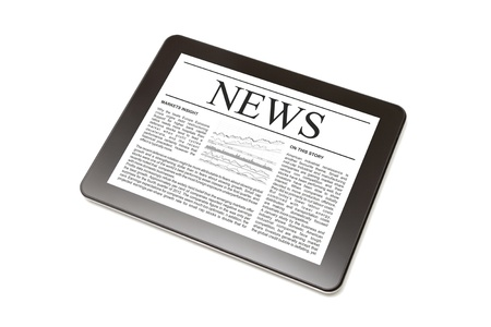 newspaper headline: Business news on Tablet PC. Isolated on white. Stock Photo
