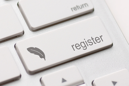 registration: Closeup of register key in a modern keyboard