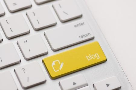 blog enter button key on white keyboard photo