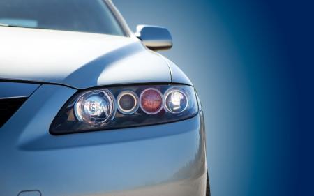 青の近代的な車のクローズ アップ 写真素材