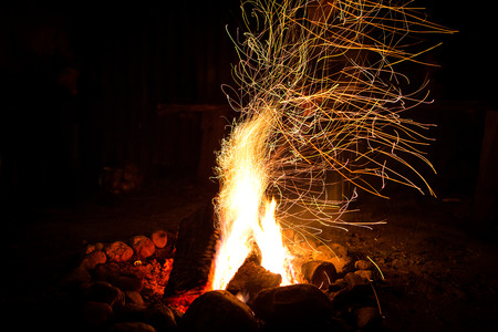 Firepalce with sparks in mountains  Stock Photo - 22268410