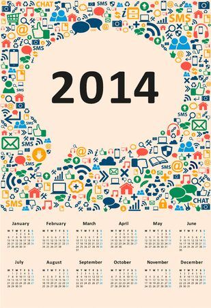 2014 new year calendar vector illustration social media illustration