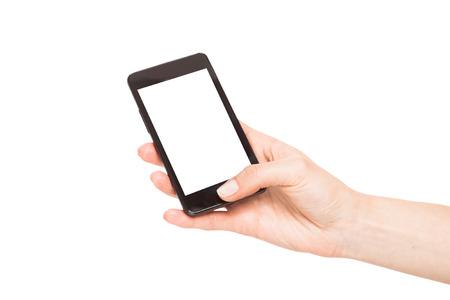 Mains tenant téléphones intelligents isolé sur fond blanc