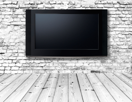interior with a television set on an old wall photo