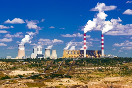 Surface coal mining and power station in Belchatow, Poland photo