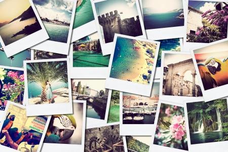 別の場所や風景、ソーシャル ネットワー キング サービスにアップロードされたスナップショットの壁をシミュレートする、自分で撮る写真モザイ