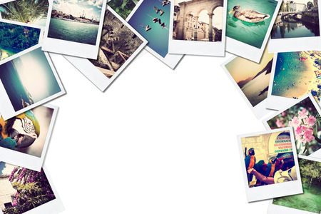A pile of photographs with space for your logo or text  photo