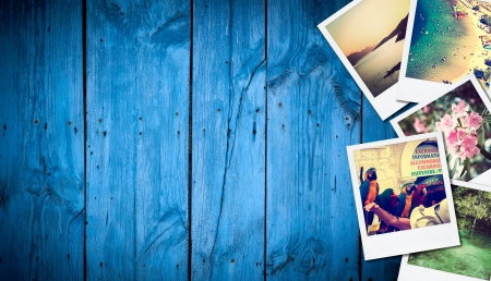 nature photography: Frame with old paper and photos  Objects over wooden planks  Stock Photo