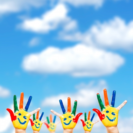 hand language: Hand Painted Child  Isolated on white background Stock Photo