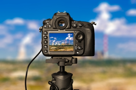 slr cameras: Digital camera on day view  Beautiful colors  Stock Photo