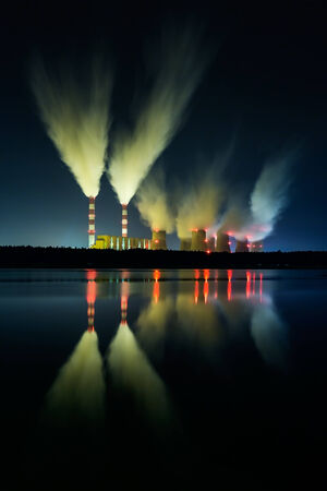 smoke stack: coal power station and night - Belchatow Poland