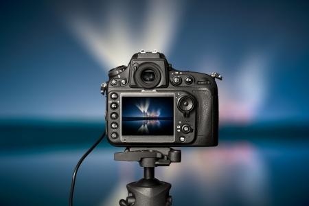 Digitale camera de avond uitzicht Prachtige kleuren