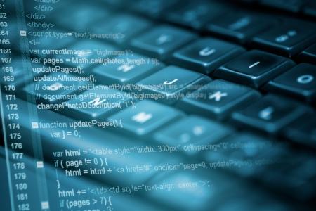 tecnologia: Código do programa e teclado de computador Imagens