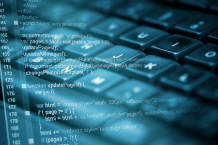 teknoloji: Program kodu ve bilgisayar klavye Stok Fotoğraf