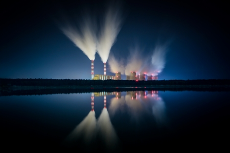coal power station and night - Belchatow Poland  photo