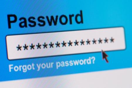 インターネット ブラウザーのパスワード ボックスのクローズ アップ
