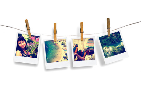 snapshot: photos of holiday people hanging on clothesline with sea background