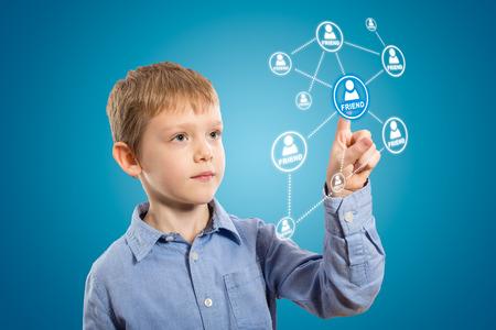 adding: Child adding Friends  Business communication  Stock Photo