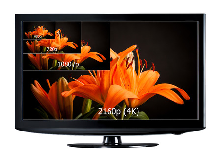 ultra: 4K television display with comparison of resolutions  Ultra HD on on modern TV