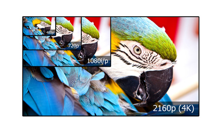 lcd tv: 4K television display with comparison of resolutions  Ultra HD on on modern TV