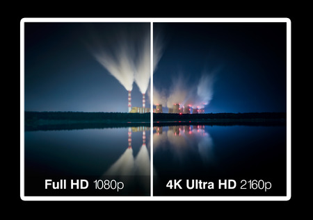high definition: 4K television display with comparison of resolutions  Ultra HD on on modern TV