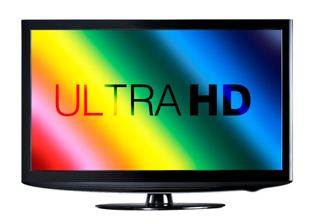 ultra: 4K television display with comparison of resolutions Stock Photo