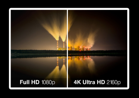 ultra modern: 4K television display with comparison of resolutions  Ultra HD on on modern TV
